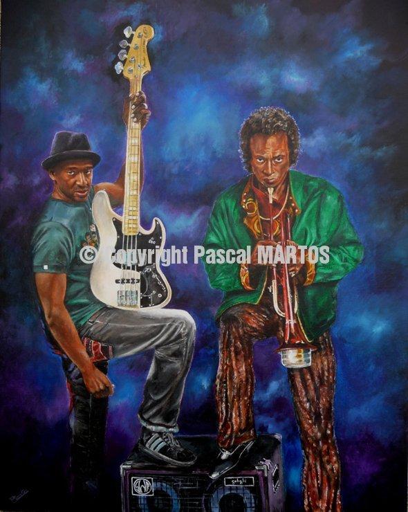 Marcus Miller & Miles Davis print